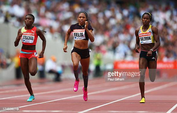 Anthonique Strachan of the Bahamas Allyson Felix of the United States and Shalonda Solomon of the United States compete in the Women's 200m during...