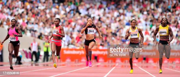 Anthonique Strachan of the Bahamas Alyson Felix of the US and Shalonda Solomon of the US compete in the womens 200 metres event during the London...