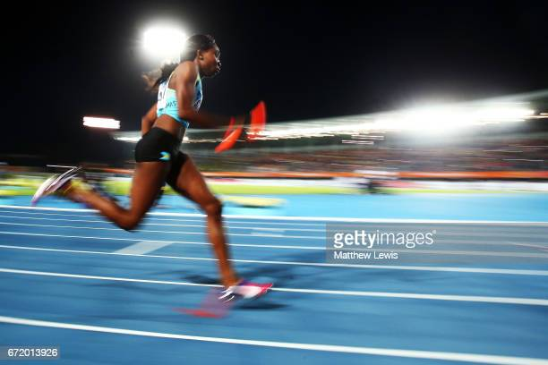 Anthonique Strachan of the Bahamas competes in heat two of the Women's 4 x 400 Meters Relay during the IAAF/BTC World Relays Bahamas 2017 at Thomas...
