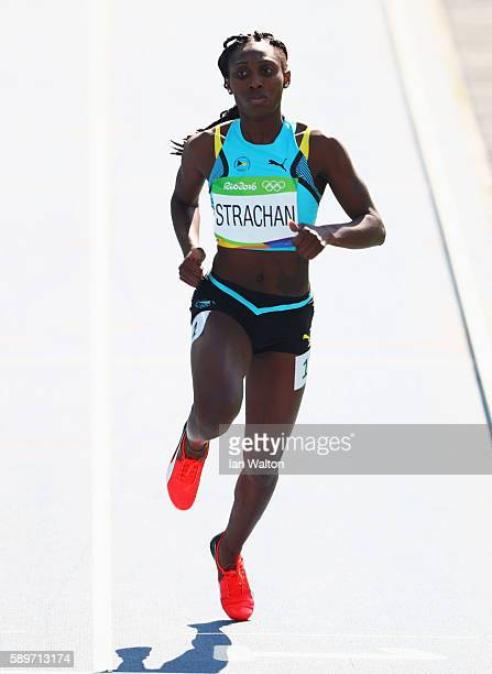 Anthonique Strachan of the Bahamas competes in round one of the Women's 200m on Day 10 of the Rio 2016 Olympic Games at the Olympic Stadium on August...