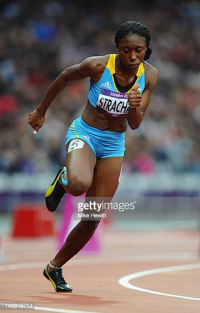 Anthonique Strachan of the Bahamas competes in the Women's 200m heat on Day 10 of the London 2012 Olympic Games at the Olympic Stadium on August 6...