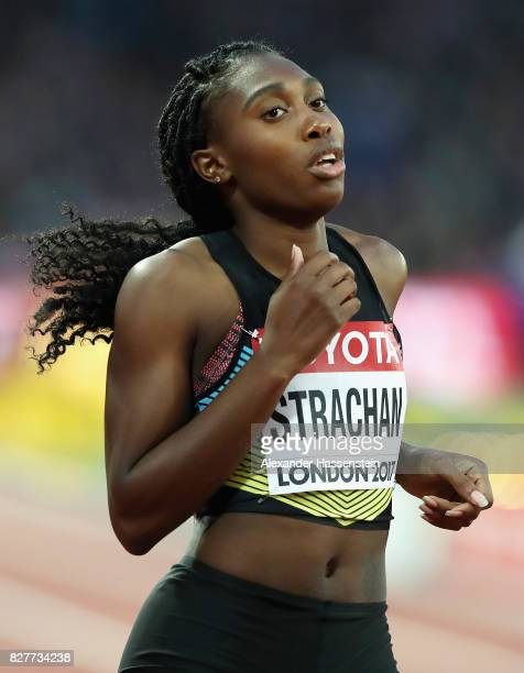 Anthonique Strachan of the Bahamas reacts after competing in the Women's 200 metres heats during day five of the 16th IAAF World Athletics...