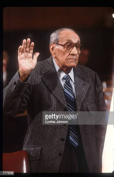 Anthony Accardo takes an oath before the Senate Government Affairs Committee November 17 1984 in Washington DC Accardo is being investigated on labor...