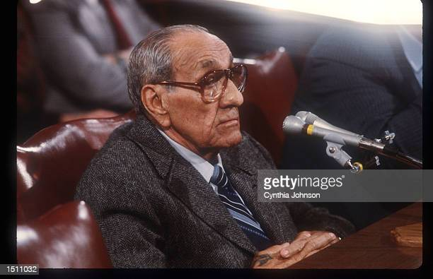 Anthony Accardo testifies before the Senate Government Affairs Committee November 17 1984 in Washington DC Accardo is being investigated on labor...