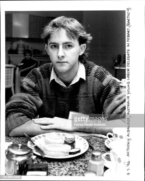 Anthony Albanese Australia Young Labour Delegate in Hobart July 09 1986