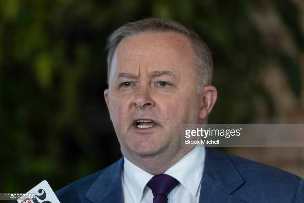 Anthony Albanese speaks to media during a press conference at the Unity Hall Hotel in Balmain on May 19 2019 in Sydney Australia Albanese announced...