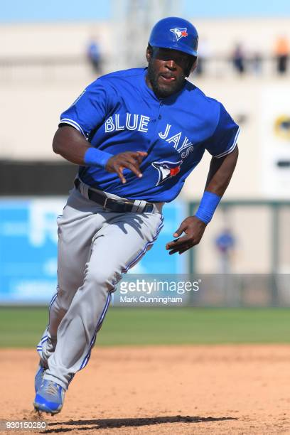 Anthony Alford of the Toronto Blue Jays runs the bases during the Spring Training game against the Detroit Tigers at Publix Field at Joker Marchant...