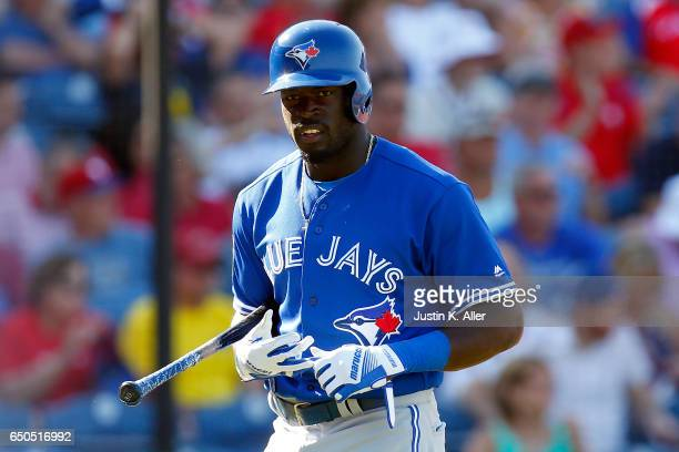Anthony Alford of the Toronto Blue Jays walks to the dugout after striking out against the Philadelphia Phillies on March 9 2017 at Spectrum Field in...