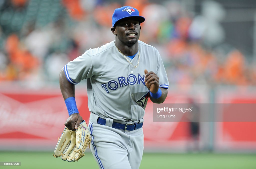 Anthony Alford #30 of the Toronto Blue Jays warms up before his MLB debut against the Baltimore Orioles at Oriole Park at Camden Yards on May 19, 2017 in Baltimore, Maryland.