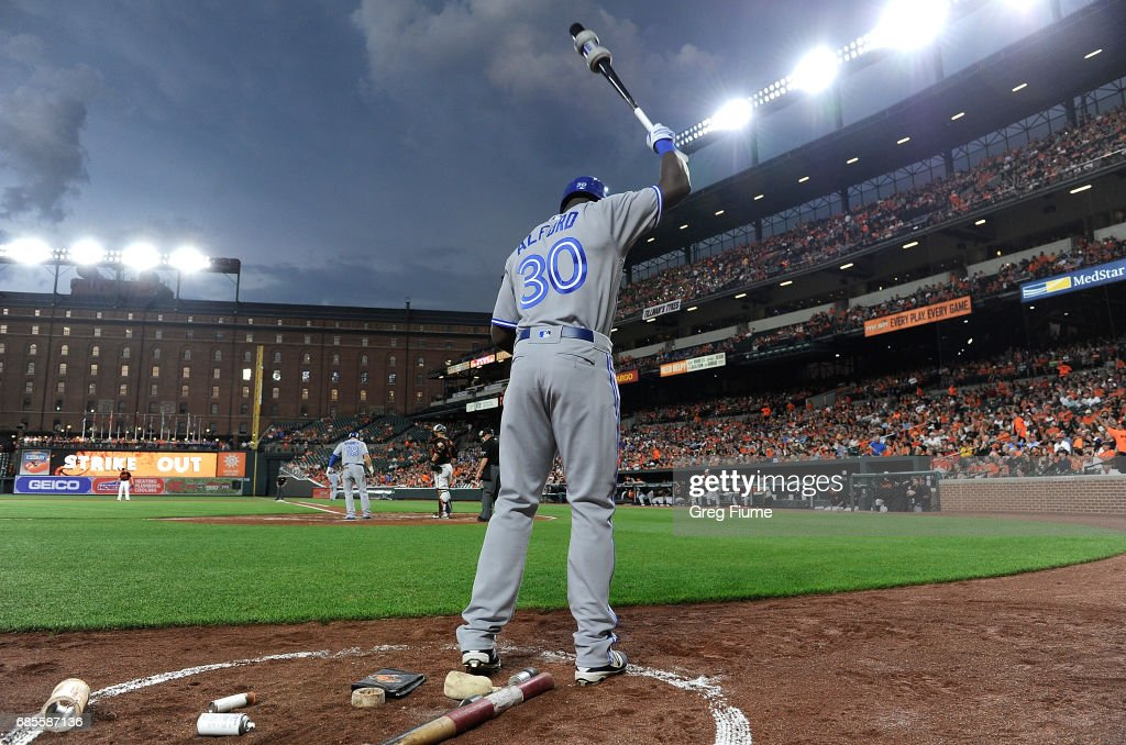 Anthony Alford #30 of the Toronto Blue Jays warms up in the on deck circle during the second inning of his MLB debut against the Baltimore Orioles at Oriole Park at Camden Yards on May 19, 2017 in Baltimore, Maryland.