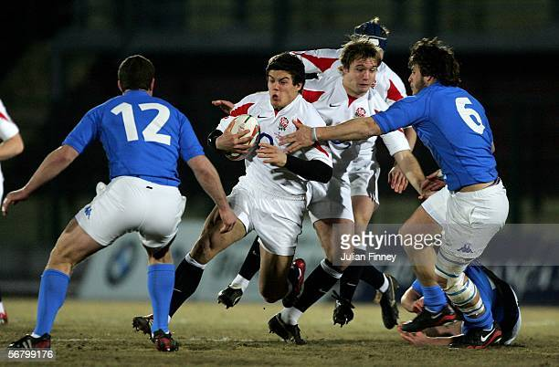 Anthony Allen of England runs at the Italian defence during the Under 21 match between Italy and England at the Stadio Lamarmora on February 9 2006...