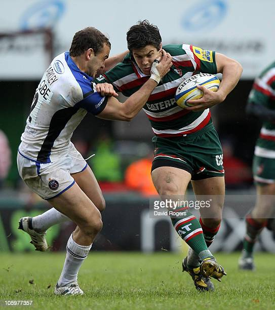 Anthony Allen of Leicester is tackled by Olly Barkley during the Aviva Premiership match between Leicester Tigers and Bath at Welford Road on October...