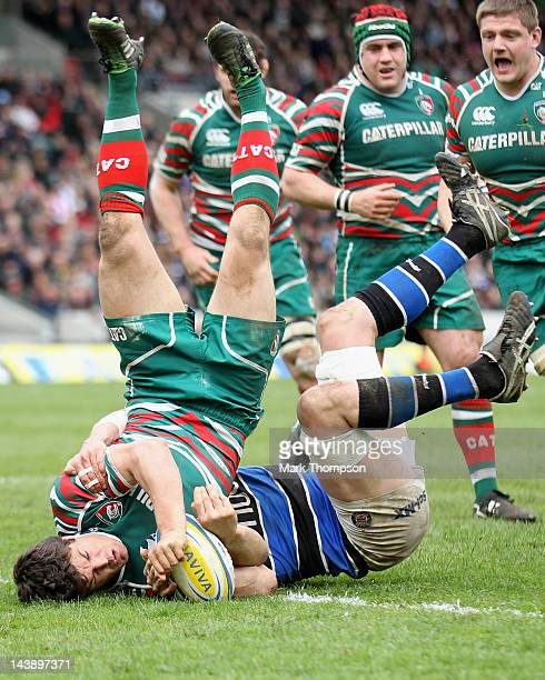 Anthony Allen of Leicester Tigers scores a try during the Aviva Premiership match between Leicester Tigers and Bath at Welford Road on May 5, 2012 in...