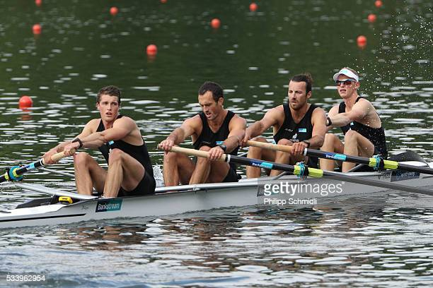 Anthony Allen Patrick McInnes Axel Dickinson and Drikus Conradie of New Zealand look dejected after missing the qualification for the 2016 Summer...