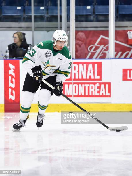 Anthony Allepot of the Valdu2019Or Foreurs skates the puck in the warmup prior to the QMJHL game against the BlainvilleBoisbriand Armada at Centre...