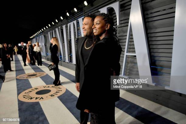 Anthony Anderson and Alvina Stewar attend the 2018 Vanity Fair Oscar Party hosted by Radhika Jones at Wallis Annenberg Center for the Performing Arts...