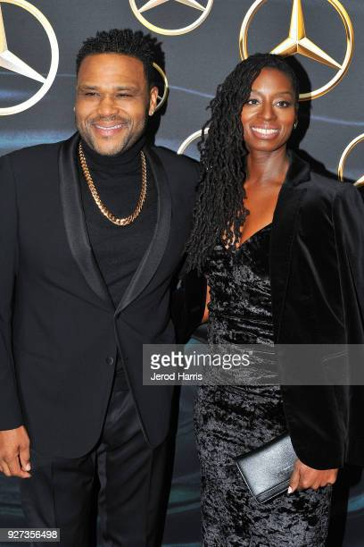 Anthony Anderson and Alvina Stewart arrive at MercedezBenz USA's Official Awards Viewing Party at Four Seasons Hotel on March 4 2018 in Beverly Hills...
