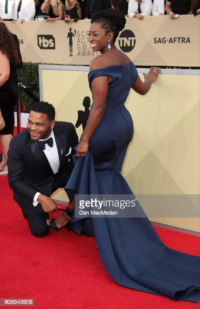 Anthony Anderson and Alvina Stewart arrive at the 24th Annual Screen Actors Guild Awards at The Shrine Auditorium on January 21 2018 in Los Angeles...