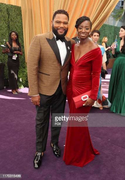 Anthony Anderson and Alvina Stewart attend FOXS LIVE EMMY® RED CARPET ARRIVALS during the 71ST PRIMETIME EMMY® AWARDS airing live from the Microsoft...