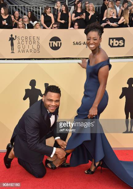 Anthony Anderson and Alvina Stewart attend the 24th Annual Screen Actors Guild Awards at The Shrine Auditorium on January 21 2018 in Los Angeles...