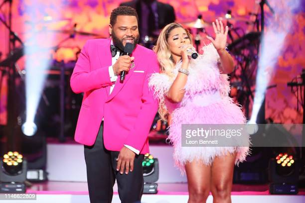 Anthony Anderson and Ashanti perform during VH1's Annual Dear Mama A Love Letter To Mom at The Theatre at Ace Hotel on May 02 2019 in Los Angeles...