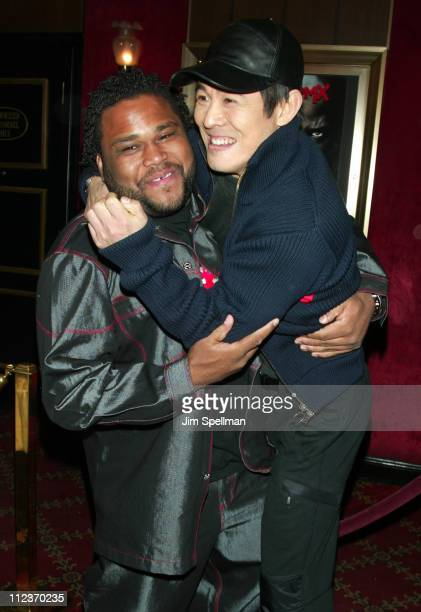 Anthony Anderson and Jet Li during World Premiere of 'Cradle 2 the Grave' at The Ziegfeld Theatre in New York City New York United States