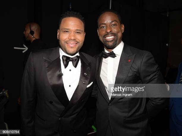 Anthony Anderson and Sterling K Brown attend the 49th NAACP Image Awards at Pasadena Civic Auditorium on January 15 2018 in Pasadena California