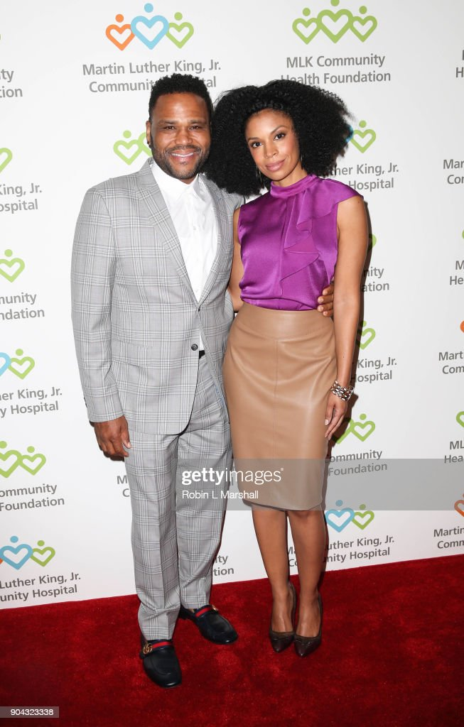 Anthony Anderson and Susan Kelechi Watson attend the MLK Community Health Foundation's 'Sharing The Dream' Luncheon at Dorothy Chandler Pavilion on January 12, 2018 in Los Angeles, California.