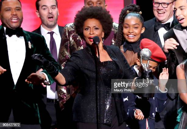Anthony Anderson Jeff Meacham Jenifer Lewis Yara Shahidi Miles Brown Peter Mackenzie and Marcus Scribner accept the Outstanding Comedy Series award...