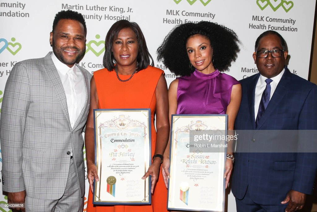 Anthony Anderson, Pat Harvey, Susan Kelechi Watson and Mark Ridley-Thomas attend the MLK Community Health Foundation's 'Sharing The Dream' Luncheon at Dorothy Chandler Pavilion on January 12, 2018 in Los Angeles, California.