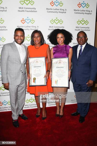 Anthony Anderson Pat Harvey Susan Kelechi Watson and Mark RidleyThomas attend the MLK Community Health Foundation's Sharing The Dream Luncheon at...