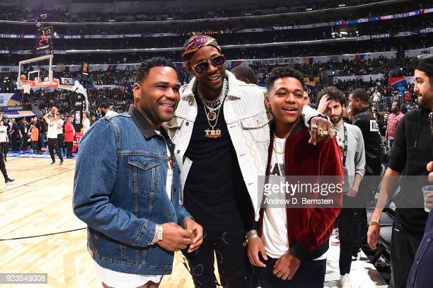Anthony Anderson posts for a photo with 2 Chainz during the NBA AllStar Game as a part of 2018 NBA AllStar Weekend at STAPLES Center on February 18...