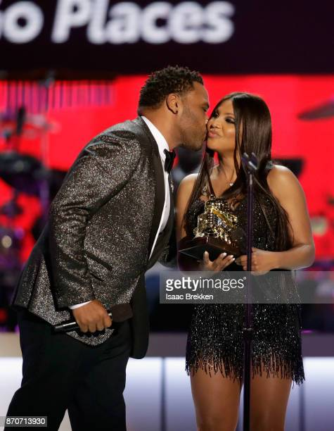 Anthony Anderson presents the Legend Award to Toni Braxton onstage at the 2017 Soul Train Awards presented by BET at the Orleans Arena on November 5...
