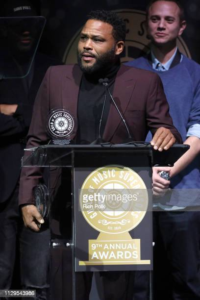 Anthony Anderson speaks onstage during the 9th Annual Guild of Music Supervisors Awards on February 13 2019 at The Theatre at Ace Hotel in Los...