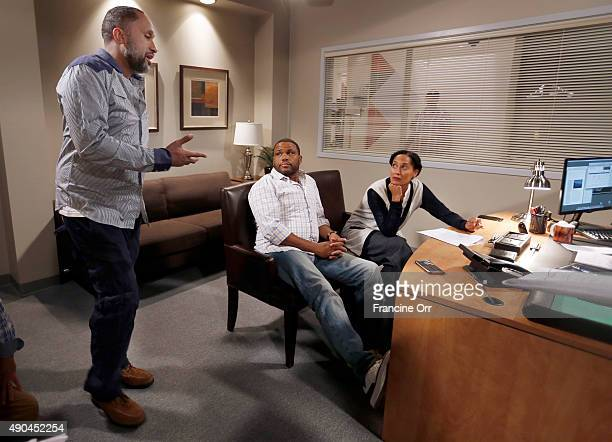 Anthony Anderson Tracee Ellis Ross Kenya Barris are photographed during rehearsal of ABC's comedy 'Blackish' for Los Angeles Times on August 13 2015...