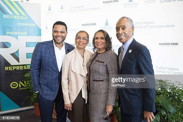Anthony AndersonRep Eleanor Holmes NortonMs Cathy Hughes Rev Al Sharpton pose In the Blackburn Center Ballroom on the campus of Howard University in...