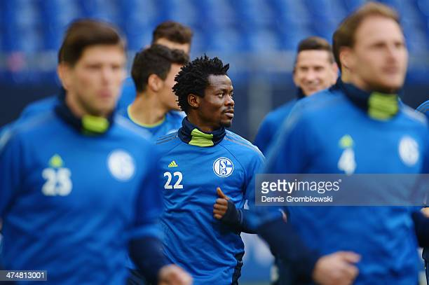 Anthony Annan of FC Schalke 04 during a training session ahead of the Champions League match between FC Schalke 04 and Real Madrid at VeltinsArena on...