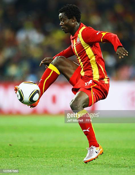 Anthony Annan of Ghana controls the ball during the 2010 FIFA World Cup South Africa Quarter Final match between Uruguay and Ghana at the Soccer City...