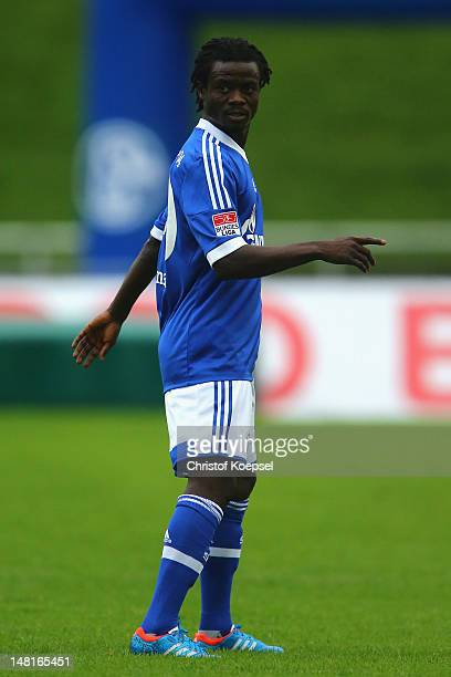 Anthony Annan of Schalke looks on during the friendly match between ERGO national team and FC Schalke 04 at Stadium Hohenhorst on July 11 2012 in...