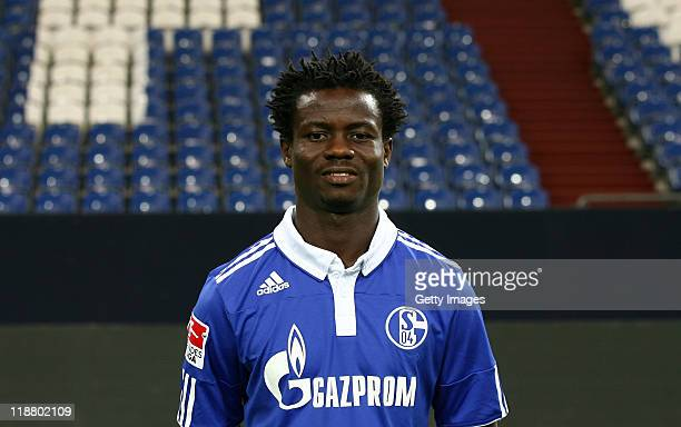 Anthony Annan of Schalke poses during the team presentation at Veltins Arena on July 9 2011 in Gelsenkirchen Germany