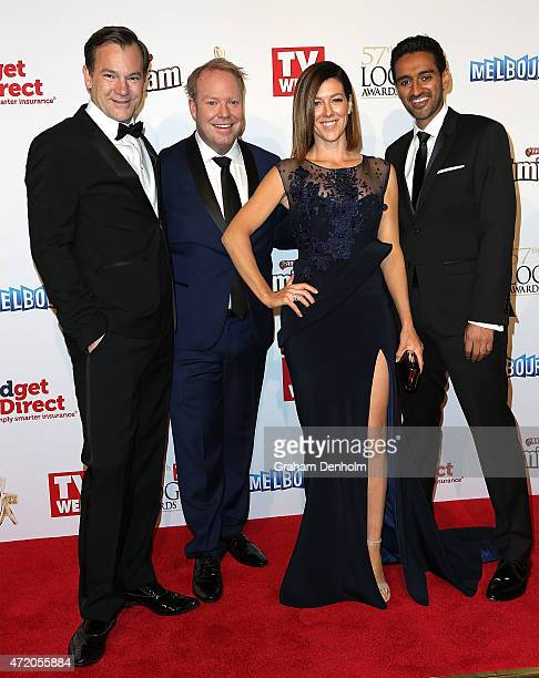 Anthony 'Anthony 'Lehmo' Lehmann' Lehmann Peter Helliar Gorgi Coghlan and Waleed Aly arrive at the 57th Annual Logie Awards at Crown Palladium on May...