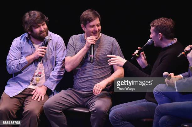 Anthony Atamanuik John Gemberling and Scott Aukerman perform on stage at the Comedy Bang Bang at BAM presented by Vulture Festival on May 20 2017 in...