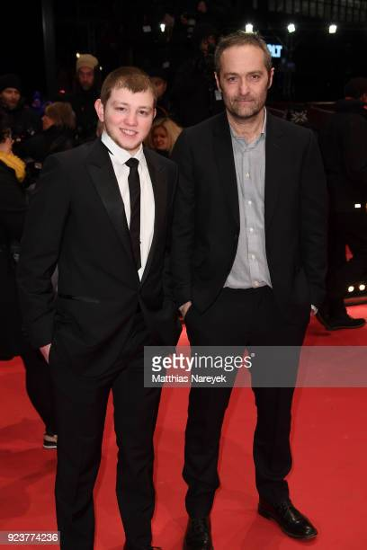 Anthony Bajon and Cedric Kahn attend the closing ceremony during the 68th Berlinale International Film Festival Berlin at Berlinale Palast on...