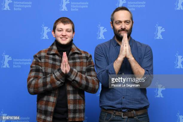 Anthony Bajon and Cedric Kahn gesture during the 'The Prayer' photo call during the 68th Berlinale International Film Festival Berlin at Grand Hyatt...