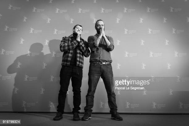 Anthony Bajon and Cedric Kahn pose at the 'The Prayer' photo call during the 68th Berlinale International Film Festival Berlin at Grand Hyatt Hotel...