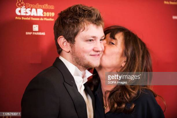 Anthony Bajon and Sylvie Pialat attends the Producer's Dinner Cesar 2019 held at Four Seasons Hotel George V
