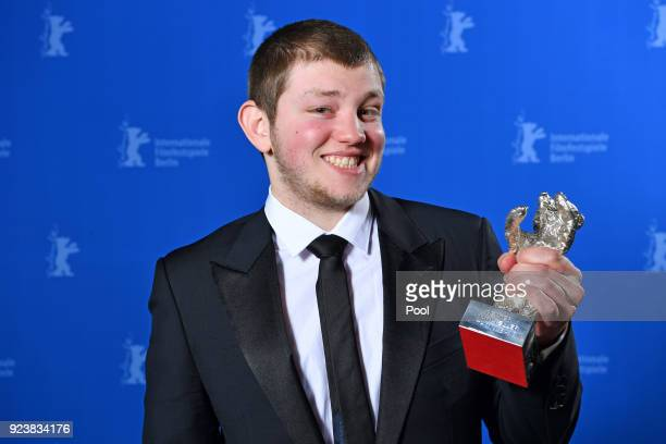 Anthony Bajon poses with the Silver Bear for Best Actor for 'The Prayer' at the Award Winners photo call during the 68th Berlinale International Film...