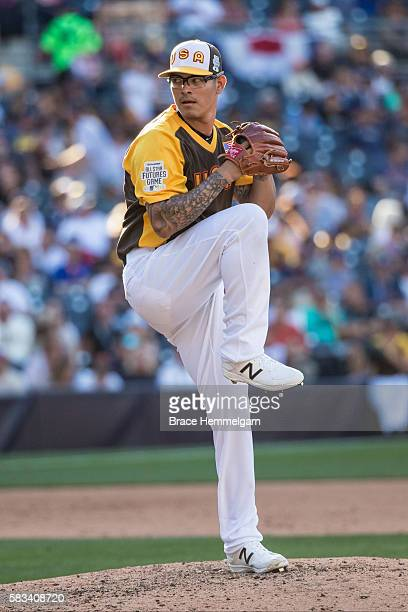 Anthony Banda of the Arizona Diamondbacks and Team USA pitches during the SiriusXM AllStar Futures Game Petco Park on Tuesday July 10 2016 in San...