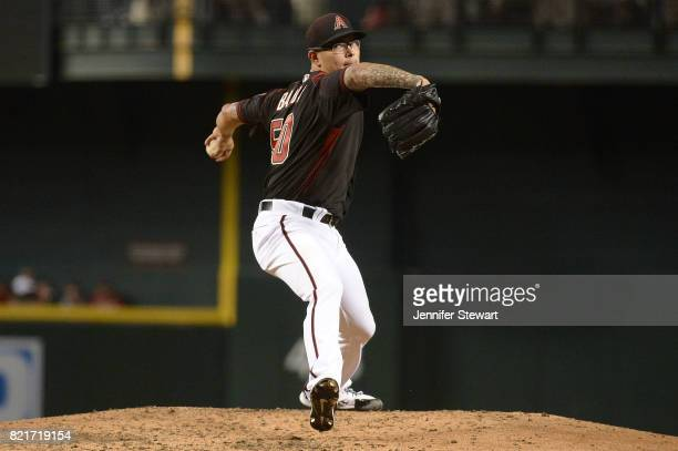 Anthony Banda of the Arizona Diamondbacks delivers a pitch in his MLB debut against the Washington Nationals at Chase Field on July 22 2017 in...
