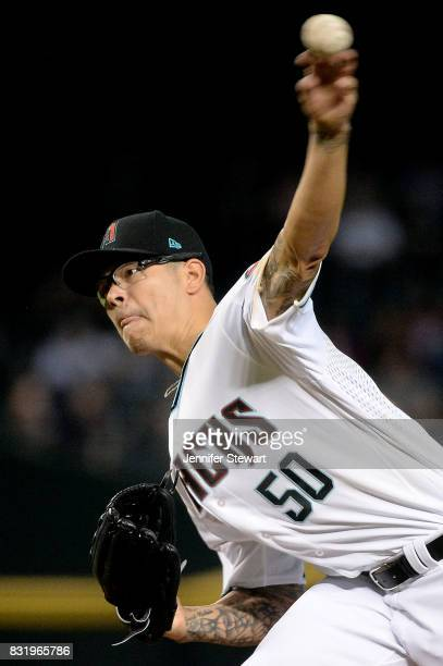 Anthony Banda of the Arizona Diamondbacks delivers a pitch in the first inning of the MLB game against the Houston Astros at Chase Field on August 15...
